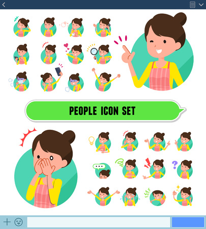 A set of housewife with expresses various emotions on the SNS screen. There are variations of emotions such as joy and sadness. Its vector art so its easy to edit.