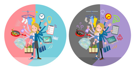 A set of school girl who perform multitasking in offices and private.There are things to do smoothly and a pattern that is in a panic.It's vector art so it's easy to edit.