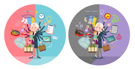 A set of old women who perform multitasking in offices and private.There are things to do smoothly and a pattern that is in a panic.It's vector art so it's easy to edit. Illustration