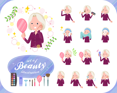 A set of old women on beauty. There are various actions such as skin care and makeup. Its vector art so its easy to edit. Illustration
