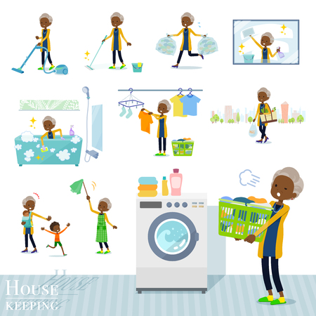 A set of old women related to housekeeping such as cleaning and laundry.There are various actions such as child rearing.It's vector art so it's easy to edit. Stock Illustratie