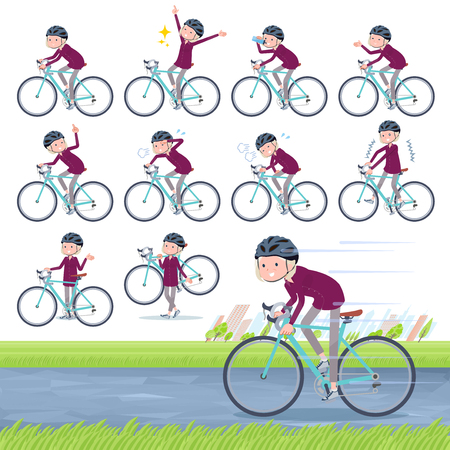 A set of old women on a road bike.There is an action that is enjoying.It's vector art so it's easy to edit. Çizim