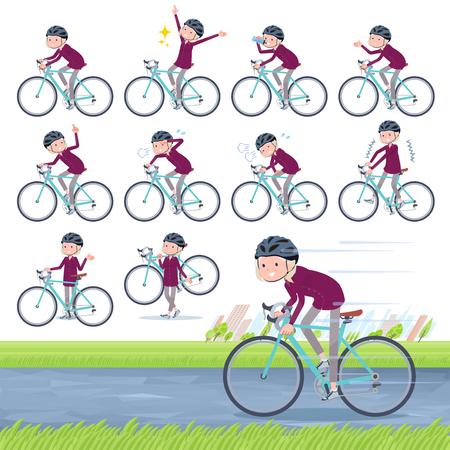 Un conjunto de ancianas en una bicicleta de carretera. Hay una acción que está disfrutando. Es arte vectorial, por lo que es fácil de editar.
