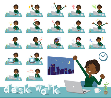 A set of women on desk work.There are various actions such as feelings and fatigue.It's vector art so it's easy to edit. Stock Vector - 109948783
