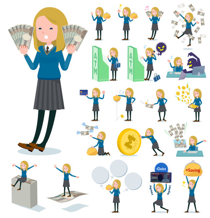 A set of school girl with concerning money and economy.There are also actions on success and failure.It's vector art so it's easy to edit.