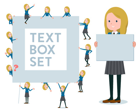 A set of school girl with a message board.Since each is divided, you can move it freely.Its vector art so its easy to edit.