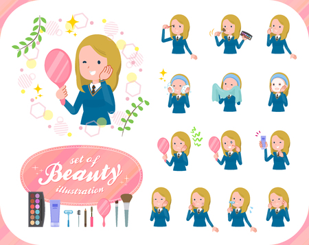 A set of school girl on beauty.There are various actions such as skin care and makeup.Its vector art so its easy to edit.