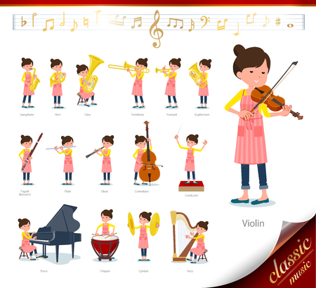A set of housewife on classical music performances.There are actions to play various instruments such as string instruments and wind instruments.It's vector art so it's easy to edit.