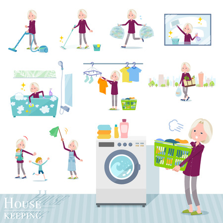 A set of old women related to housekeeping such as cleaning and laundry. There are various actions such as child rearing. Its vector art so its easy to edit. Ilustração