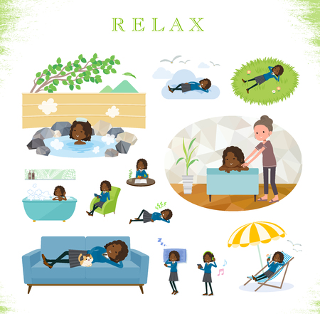 A set of school girl about relaxing.There are actions such as vacation and stress relief.Its vector art so its easy to edit.