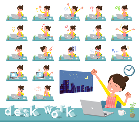 A set of housewife on desk work.There are various actions such as feelings and fatigue.Its vector art so its easy to edit.