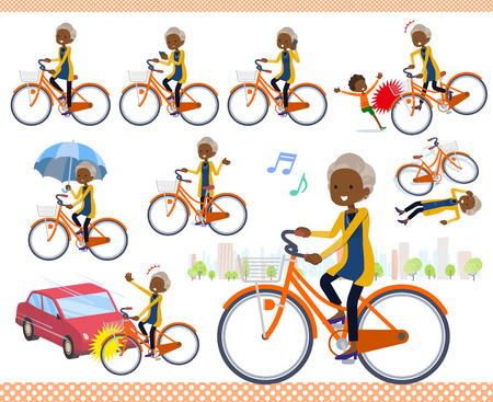 A set of old women riding a city cycle.There are actions on manners and troubles.It's vector art so it's easy to edit.