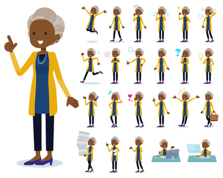 A set of old women with who express various emotions.There are actions related to workplaces and personal computers.It's vector art so it's easy to edit.