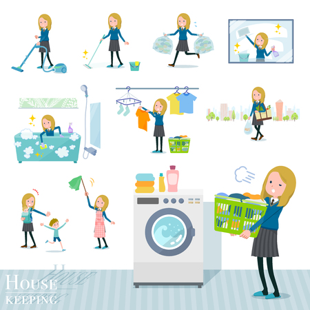 A set of school girl related to housekeeping such as cleaning and laundry.There are various actions such as child rearing.It's vector art so it's easy to edit.