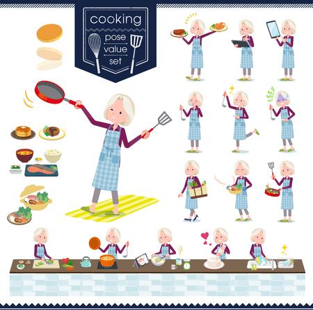 Una serie di donne anziane sulla cucina.Ci sono azioni che stanno cucinando in vari modi in cucina.È arte vettoriale quindi è facile da modificare.