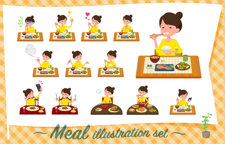 A set of Pregnant women about meals.Japanese and Chinese cuisine, Western style dishes and so on.Its vector art so its easy to edit.