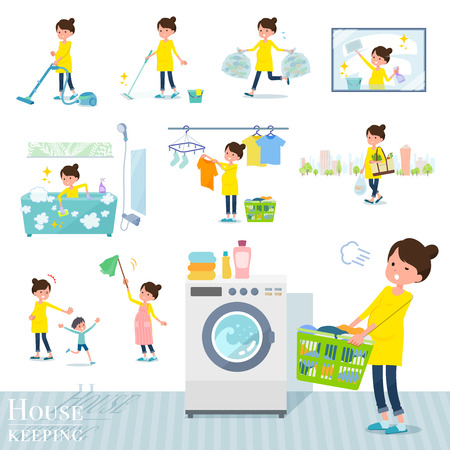 A set of Pregnant women related to housekeeping such as cleaning and laundry.There are various actions such as child rearing.Its vector art so its easy to edit.