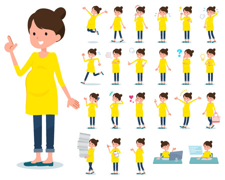A set of Pregnant women with who express various emotions.There are actions related to workplaces and personal computers.It's vector art so it's easy to edit.