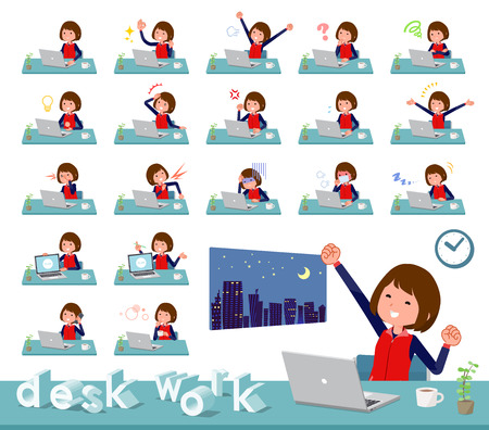 A set of women on desk work.There are various actions such as feelings and fatigue.It's vector art so it's easy to edit. Stock Vector - 109879570