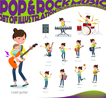 A set of woman holding a baby playing rock 'n' roll and pop music. There are also various instruments such as ukulele and tambourine. It's vector art so it's easy to edit.