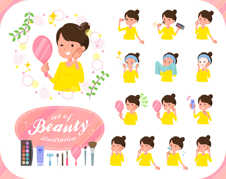 A set of Pregnant women on beauty.There are various actions such as skin care and makeup.Its vector art so its easy to edit.