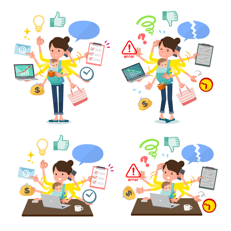 A set of woman holding a baby who perform multitasking in the office.There are things to do smoothly and a pattern that is in a panic.It's vector art so it's easy to edit.