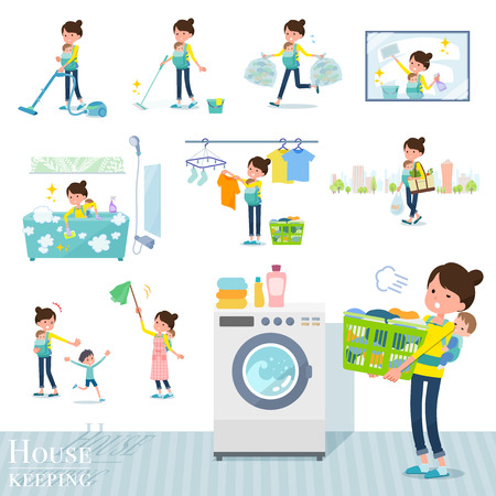 A set of woman holding a baby related to housekeeping such as cleaning and laundry. There are various actions such as child rearing. Its vector art so its easy to edit. Ilustração
