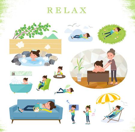 Un conjunto de mujer sosteniendo a un bebé sobre relajarse. Hay acciones como vacaciones y alivio del estrés. Es arte vectorial, por lo que es fácil de editar.