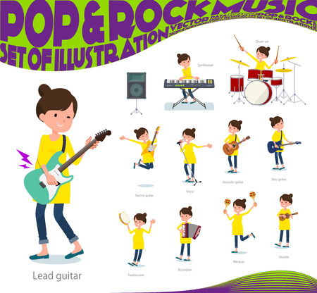 A set of Pregnant women playing rock 'n' roll and pop music.There are also various instruments such as ukulele and tambourine.It's vector art so it's easy to edit.