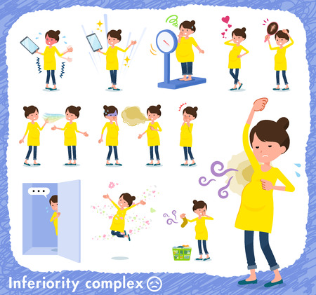 A set of Pregnant women on inferiority complex.There are actions suffering from smell and appearance.Its vector art so its easy to edit.