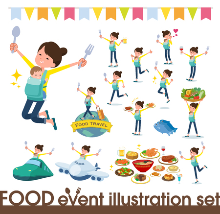 A set of woman holding a baby on food events.There are actions that have a fork and a spoon and are having fun.It's vector art so it's easy to edit. Ilustración de vector