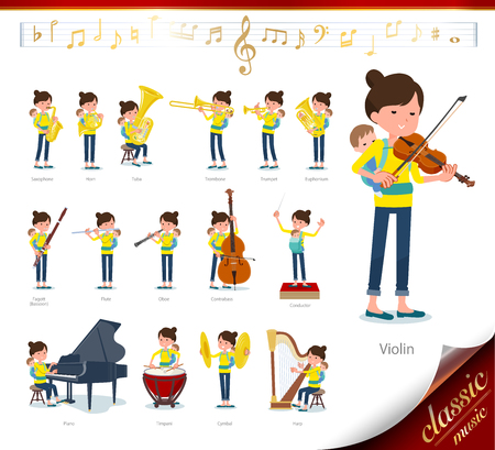 A set of woman holding a baby on classical music performances.There are actions to play various instruments such as string instruments and wind instruments.Its vector art so its easy to edit.