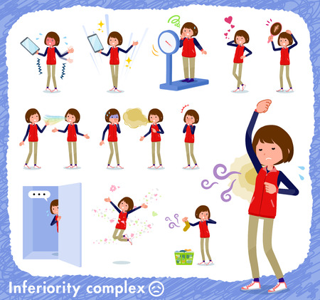 A set of women on inferiority complex.There are actions suffering from smell and appearance.It's vector art so it's easy to edit.