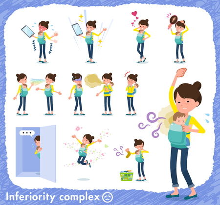 A set of woman holding a baby on inferiority complex.There are actions suffering from smell and appearance.It's vector art so it's easy to edit. Ilustración de vector