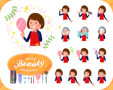 A set of women on beauty.There are various actions such as skin care and makeup.Its vector art so its easy to edit. Stock Illustratie