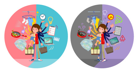 A set of women who perform multitasking in offices and private.There are things to do smoothly and a pattern that is in a panic.It's vector art so it's easy to edit. Çizim