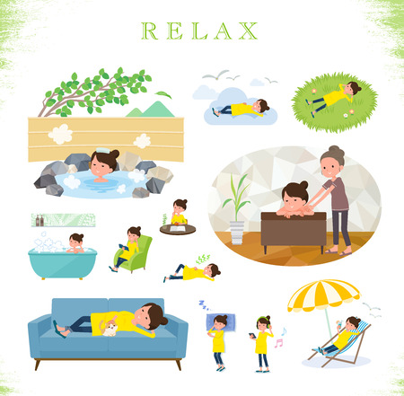 A set of Pregnant women about relaxing.There are actions such as vacation and stress relief.Its vector art so its easy to edit.