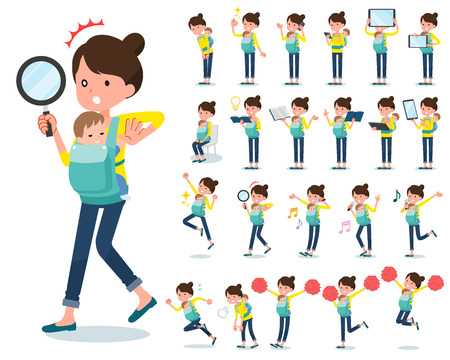 A set of woman holding a baby with digital equipment such as smartphones. There are actions that express emotions. It's vector art so it's easy to edit.