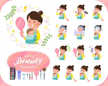 Un conjunto de mujer sosteniendo a un bebé en la belleza. Hay varias acciones como el cuidado de la piel y el maquillaje. Es arte vectorial, por lo que es fácil de editar.