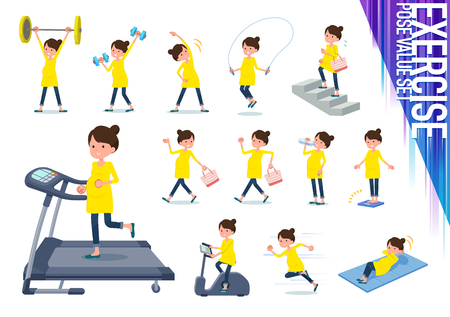 A set of Pregnant women on exercise and sports.There are various actions to move the body healthy.Its vector art so its easy to edit.