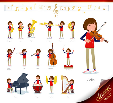 A set of women on classical music performances.There are actions to play various instruments such as string instruments and wind instruments.It's vector art so it's easy to edit.