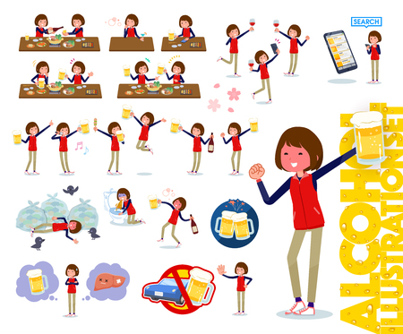 A set of women related to alcohol.There is a lively appearance and action that expresses failure about alcohol.It's vector art so it's easy to edit. Illustration