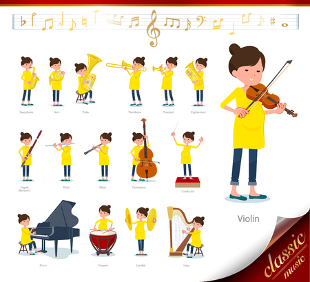 A set of Pregnant women on classical music performances.There are actions to play various instruments such as string instruments and wind instruments.Its vector art so its easy to edit. Illustration