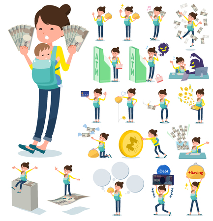 A set of woman holding a baby with concerning money and economy.There are also actions on success and failure.It's vector art so it's easy to edit. Ilustración de vector