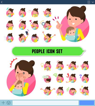 Un conjunto de mujer sosteniendo a un bebé expresa varias emociones en la pantalla del SNS. Hay variaciones de emociones como alegría y tristeza. Es arte vectorial, por lo que es fácil de editar.
