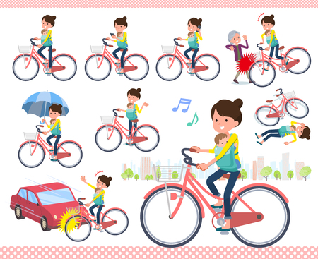 A set of woman holding a baby riding a city cycle.There are actions on manners and troubles.It's vector art so it's easy to edit.