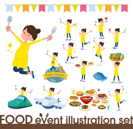 A set of Pregnant women on food events.There are actions that have a fork and a spoon and are having fun.Its vector art so its easy to edit. Illustration