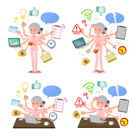A set of senior women who perform multitasking in the office.There are things to do smoothly and a pattern that is in a panic.Its vector art so its easy to edit.