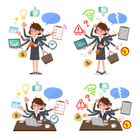 A set of bad condition women who perform multitasking in the office.There are things to do smoothly and a pattern that is in a panic.It's vector art so it's easy to edit.