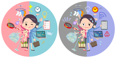 A set of women who perform multitasking in offices and private.There are things to do smoothly and a pattern that is in a panic.It's vector art so it's easy to edit. Vecteurs